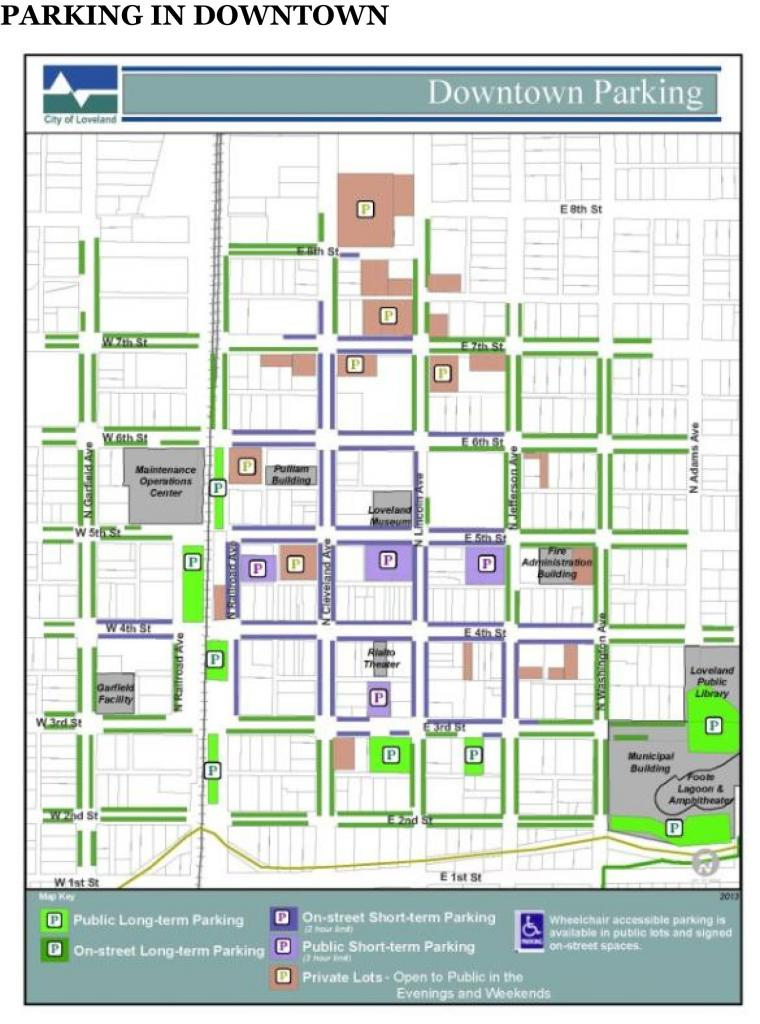 City of Loveland Colorado, Downtown Parking Map current as of July 7, 2015